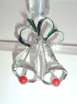 Vtg Christmas Pin Brooch Bells DESIGNER SIGNED GERRYS SILVER TONE   - $14.82