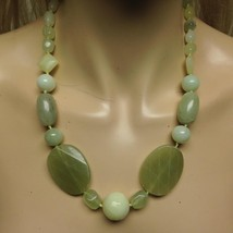 Elegant, Chunky Green Jade Beads, 20in Necklace - $66.45