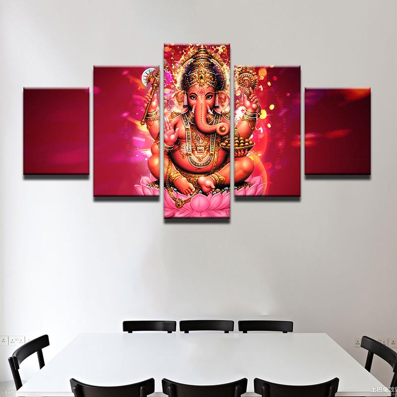 Ganesha Canvas Elephant Head God  5 Piece Canvas Wall Art Poster Print Home Deco for sale  USA