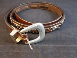 "Women's Fashion Belt Fossil Leather Belt w/ Silver Tone Accents And Buckle 36"" - $9.89"