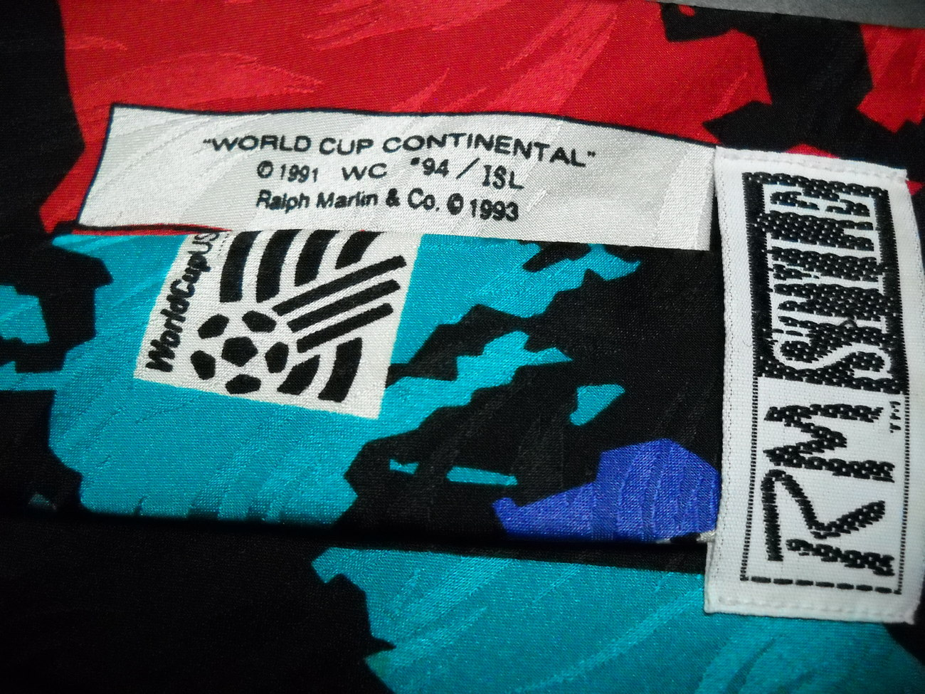 Ralph Marlin RM Style Neck Tie World Cup Continental Soccer World Map on Black