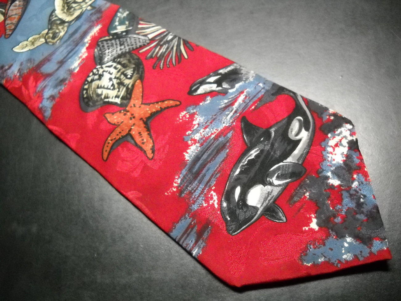 Endangered Species Neck Tie Under the Sea on Red Background