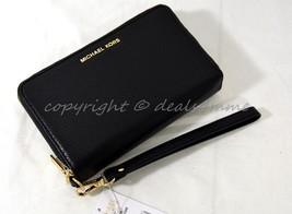 NWT Michael Kors Adele Large Flat Phone Leather Wallet/Wristlet in Black - $149.00