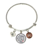 Custom Basketball Coach Thank You Gift Wire Bracelet Jewelry Choose Initial - $15.99