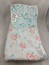 "Aden + Anais Pink Rose Teal Baby Blanket About 42"" x 42"" - $39.95"
