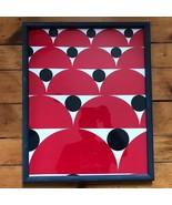 "Framed Fabric Red Black White Circles 17""x21"" Bedroom Living Room Decor - $49.49"