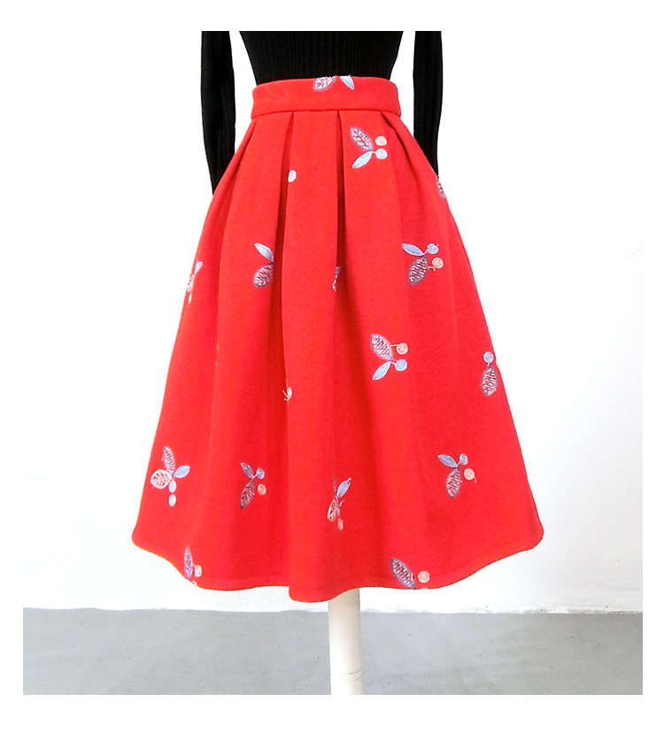Women RED Winter Pleated Skirt Red Wool Party Skirt Plus Size Midi Wool Skirt