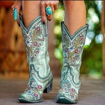 Women's Mid-Calf Boots Woman Embroidery Thigh High Shoes Ladies Pointed Toe M... - $45.86+