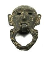 Ring Door Knocker Brass Tribal Face Shape Vintage Old Rare Handmade Piece - €67,43 EUR
