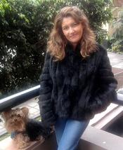 Chinchilla fur jacket, black fur coat,outerwear  - $485.00