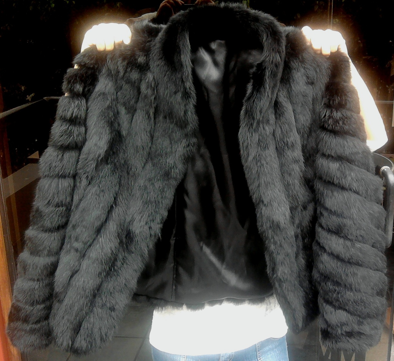 Chinchilla fur jacket, black fur coat,outerwear