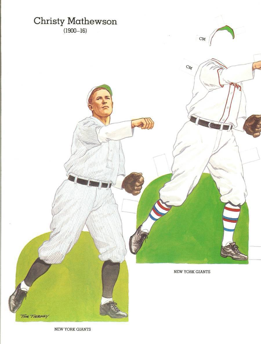 christy mathewson baseball paper doll 1985 new york giants