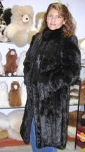 Black chinchilla fur long coat, unique outerwear - $857.00