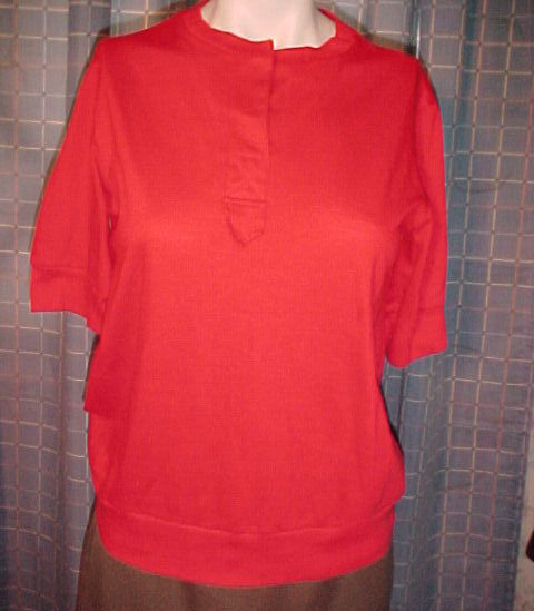 Sears,red pullover top, short sleeve,placket front