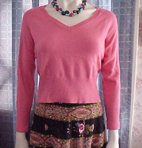 Banana Republic,Pink,Merino wool, Petite PM,V-neck