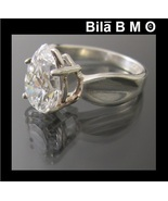 Vintage CUBIC ZIRCONIA Simulated Diamond RING in STERLING  - Size 6 1/4 - $135.00
