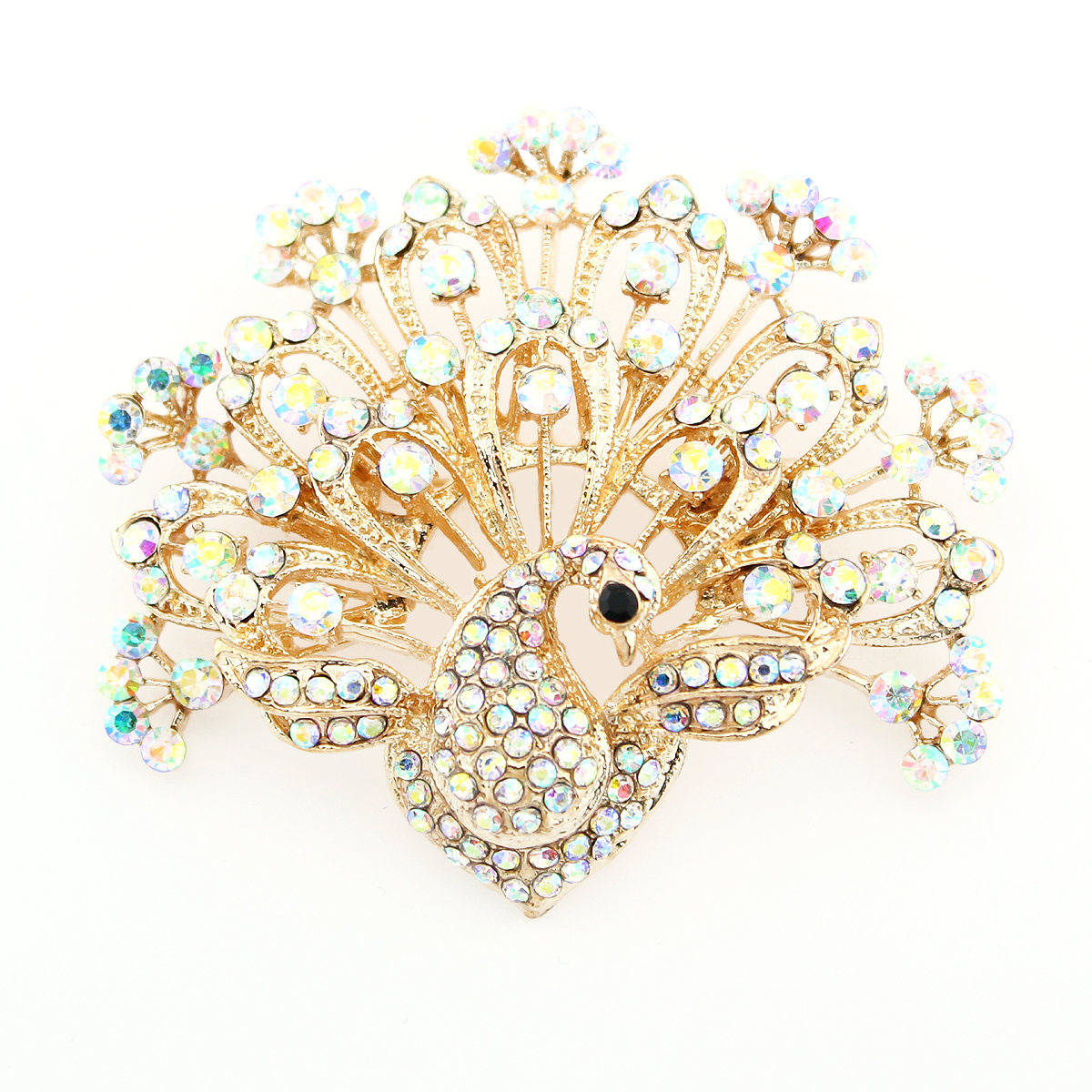 Primary image for Peacock Brooch, Iridescent Crystal Brooches Pins Women Fashion, Dress Sash Pin
