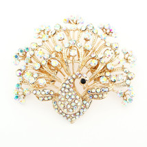 Peacock Brooch, Iridescent Crystal Brooches Pins Women Fashion, Dress Sa... - $26.95