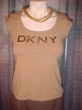 DKNY top,scoop neck,cap sleeves,Size M,Bling cotton applique front T-shirt,Brown - $9.99