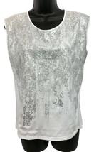 Calvin Klein Embellished Animal Print White Top Blouse M - $13.10