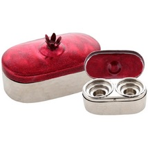 Judaica Travel Tea Candle Holders Candlesticks Shabbat Holiday Pomegranate Red