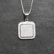 New 14k White Gold On 925 Square Classy Pendant Charm - $54.22