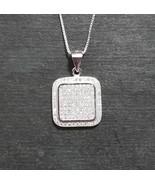 New 14k White Gold On 925 Square Classy Pendant Charm - $46.09