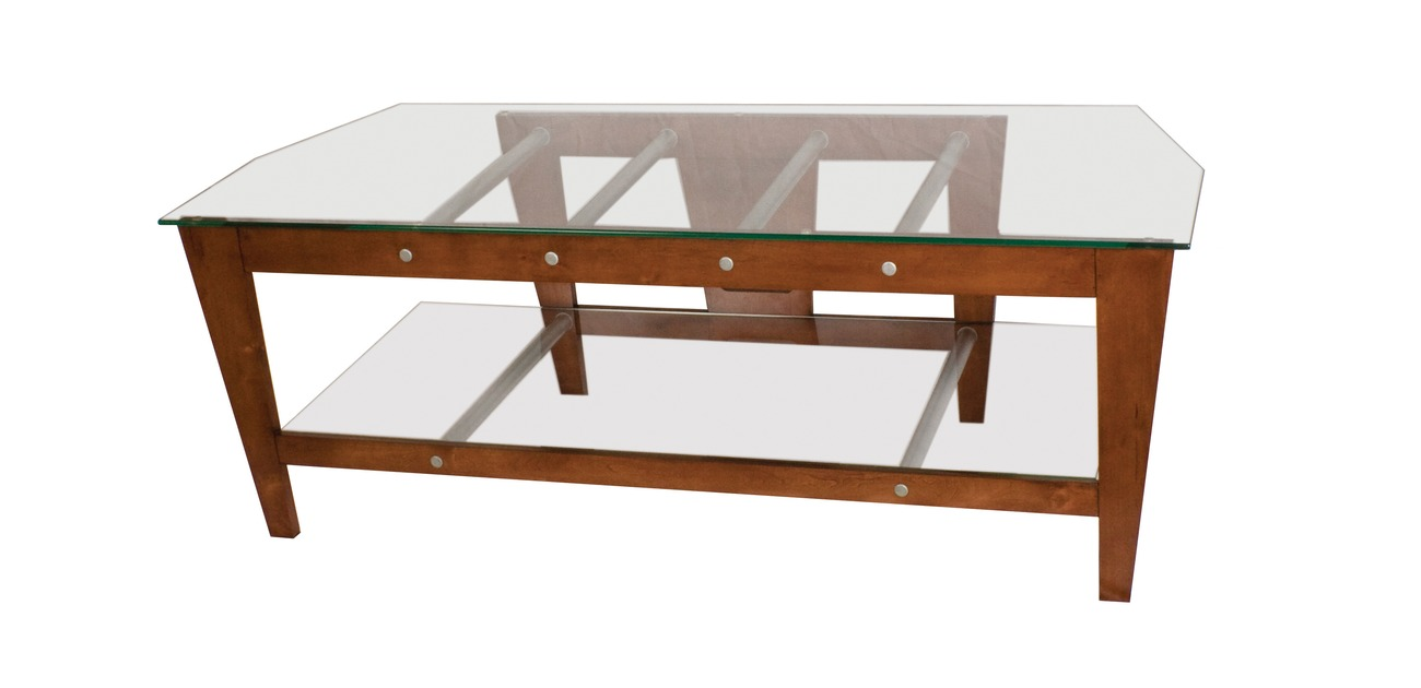"PLATEAU TLX-2V 50 B Wood and Black Glass 42"" TV Stand, Espresso finish"
