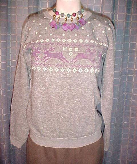 Sweatshirt-Gray with Purple Reindeer