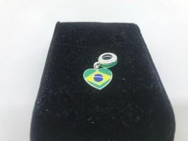Pandora Brasil Corazón Bandera Charm Colgante Nuevo Auténtico - $36.72