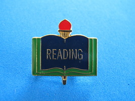 READING Open BOOK Lapel Pin Tie Tac Pin Hat Pin RED Light TORCH - $3.95