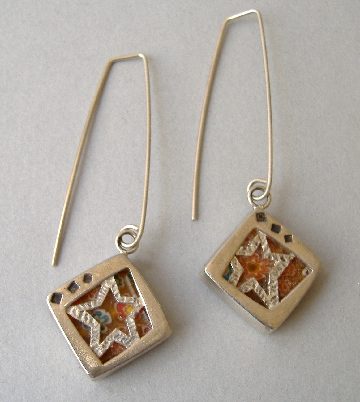 Set Sterling Silver Star Mosaic Dangle Earrings Pendant Necklace Orange Floral