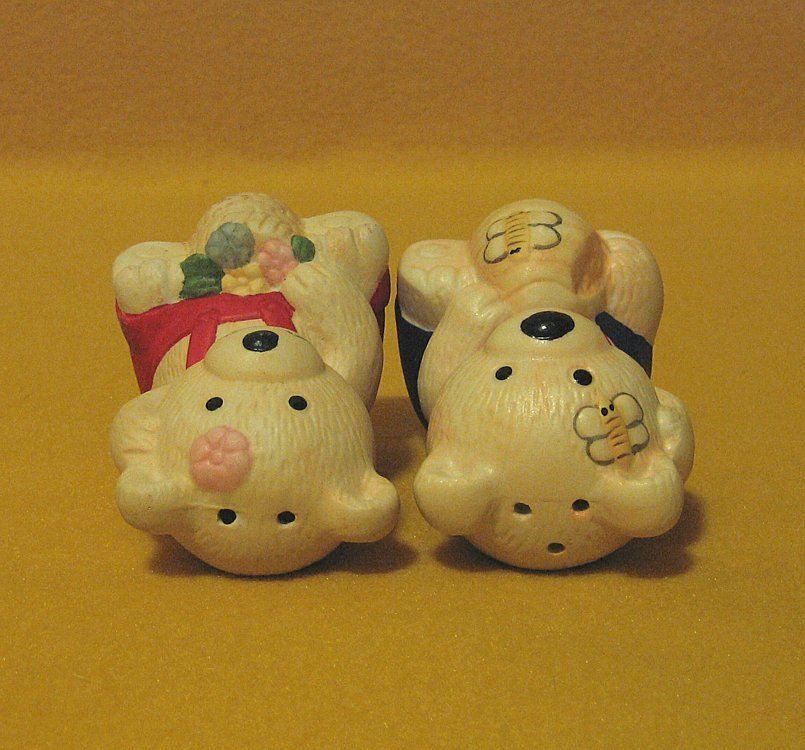 Teddy Bear Salt and Pepper Shakers with Flowers and Bees