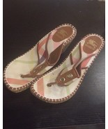 Burberry Toe Thong Wedge Espadrille Sandal Sz 41 Nova Check Brown leather - $70.08
