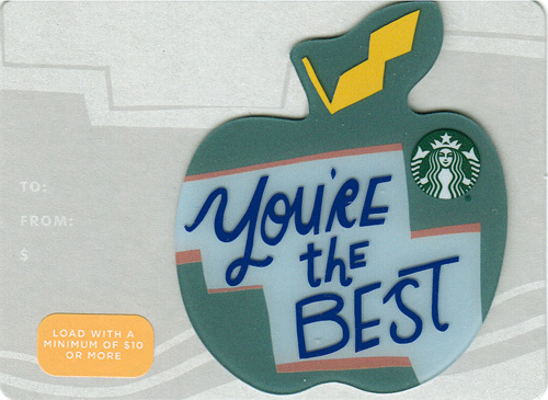 Primary image for Starbucks 2019 Teacher You're The Best Collectible Gift Card New No Value