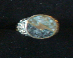 Sterling Silver Moonstone & Snowflake Obsidian Inlaid Ring