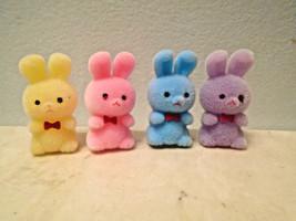 MIni Blue Yellow Pink Lavender Flocked Easter Bunnies Bunny Rabbits Shab... - $3.99