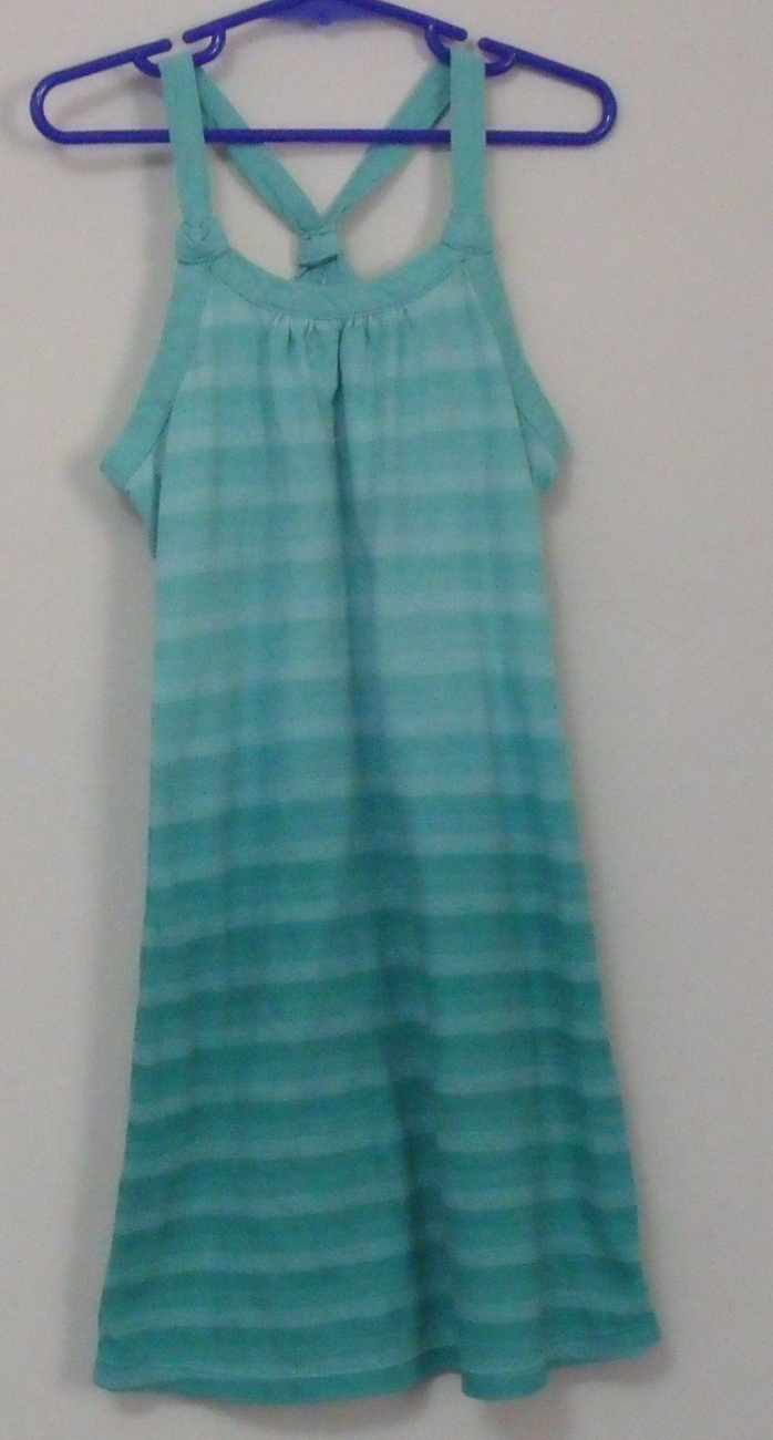 Girls Old Navy Aqua Green Stripe Sleeveless Dress Size S