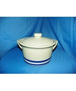R.R.P. CO. ROSEVILLE, OHIO POTTERY CROCK BOWL WITH LID TWO BLUE STRIPES - $29.70