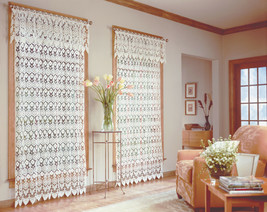 "Medallion Macrame Curtain Panel, 48"" wide by 63"" long, Ecru, Lorraine Home - $50.99"