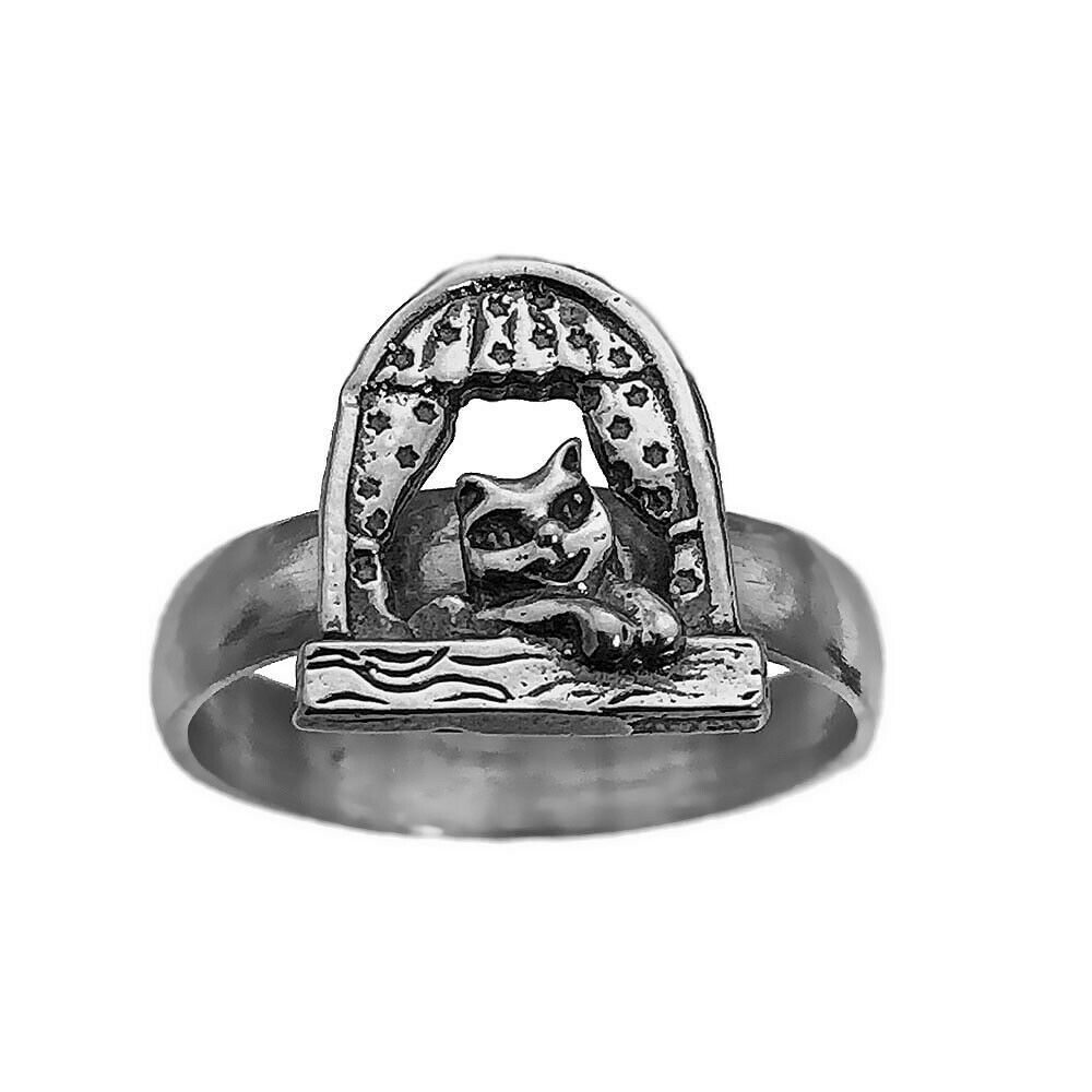 Genuine Sterling Silver 925 Ring Kitten Cat Looking out window Jewelry Pick Size