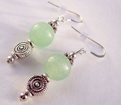 Aventurine Disk Drop Earrings Green and Silver - $11.50