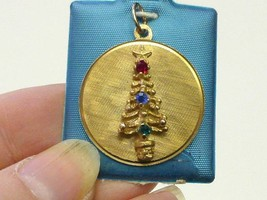 1970 Gold Plating Sterling Silver 3-D CHRISTMAS TREE w Stones Charm Orig... - $19.99
