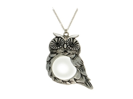 Silvertone Owl Pendant Necklace With Magnifying Glass - $16.95
