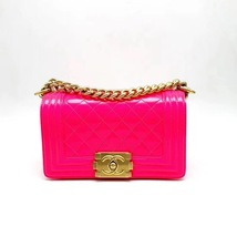 NEW AUTHENTIC CHANEL BRIGHT NEON PINK PATENT LEATHER SMALL BOY FLAP BAG GHW image 2