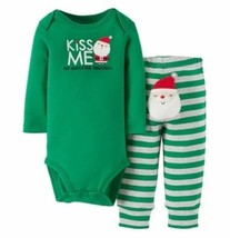 Carters Christmas Set 2pc Boys Size 3M Green Kiss Me No Mistletoe Required  - $8.89