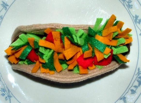Felt Play Food - Taco and Fixins' - 1 - Handmade - Pretend Food Toy - #113F