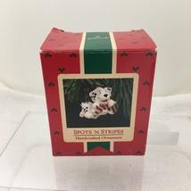 1987 Hallmark Christmas Ornament Spots n Stripes Puppy Candy Cane Box no... - $14.36