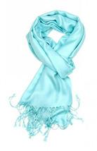 Aqua Blue Fashion Pashmina Shawl Scarf 64 x 28 inches Tassels Womens - $9.11