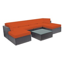 Outdoor Wicker Sectional Sofa Set Patio Couch Rattan Sun Lounge w/ Ottom... - $1,054.20